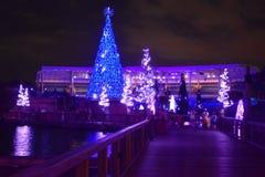 Ponte ed alberi di Natale illuminati sul fondo variopinto dello stadio nell'area internazionale dell'azionamento immagini stock