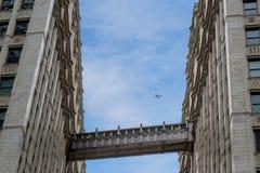 ponte entre a construção de Wrigley no distrito financeiro, Chiacago imagens de stock royalty free