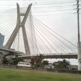 Ponte Estaiada Octavio Frias de Oliveira cable-stayed bridge. In Sao Paulo, Brazil on a cloudy day royalty free stock photo