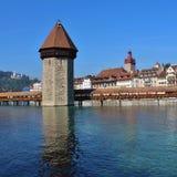 Ponte famoso in Lucerna, Svizzera della cappella Fotografia Stock