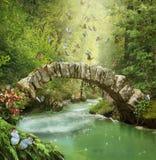 Ponte fantástica na floresta Photomanipulation 3d ilustração stock