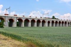 Ponte ferroviario, Hranice, ceco immagini stock