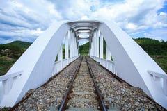 Ponte ferroviario sopra il fiume a nuvoloso Immagine Stock