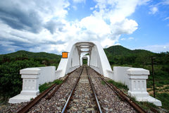 Ponte ferroviario sopra il fiume a nuvoloso Fotografie Stock Libere da Diritti