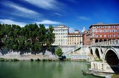 Ponte Garibaldi bridge and Rome cityscape, Lazio, Italy Royalty Free Stock Images