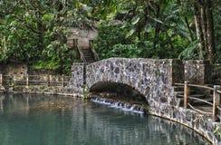 Ponte grande della pietra dello stagno di Bano Fotografia Stock