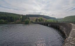 Ponte incurvato e di pietra sopra un lago Fotografia Stock