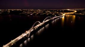 Ponte JK bij nacht in Brasilia Stock Foto