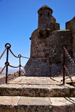 Ponte levadiça lanzarote de arrecife da etapa   torre e porta foto de stock royalty free