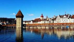 Ponte Lucerne Switzerland da capela Fotos de Stock Royalty Free