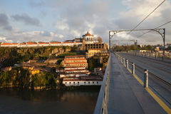 Ponte Luis I and Serra do Pilar at Sunset in Portugal stock images