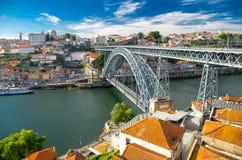 Ponte Luis most nad Douro rzeką, Porto Oporto miasto, Portugalia obraz royalty free