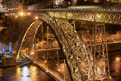 Ponte Luiz I Bridge by Night in Porto Royalty Free Stock Photo