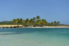 Ponte lungo l'oceano caraibico, Roatan, Honduras Immagini Stock Libere da Diritti