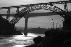 Ponte Maria Pia w ranku, Porto Portugalia zdjęcie stock