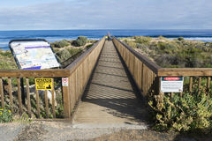 Ponte masculina de Walking Across Foot do fotógrafo, Waitpinga, A sul Fotos de Stock Royalty Free