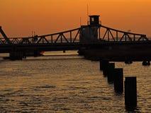 Ponte Meiningen al tramonto Fotografia Stock Libera da Diritti