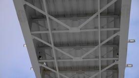 Ponte metálica com céu azul atrás, vista inferior panorâmico filme