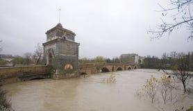 Ponte Milvio sob a chuva fotografia de stock