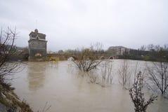 Ponte Milvio tijdens aluvion Stock Fotografie