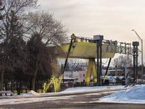 Ponte mobile sopra il fiume di Oswego fotografia stock