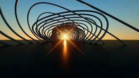 Ponte moderna curvada na ponte moderna de encurvamento realística dimensional do por do sol 3 no por do sol ilustração do vetor