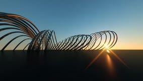 Ponte moderna curvada na ponte moderna de encurvamento real?stica dimensional do por do sol 3 no por do sol fotos de stock