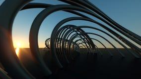 Ponte moderna curvada na ponte moderna de encurvamento real?stica dimensional do por do sol 3 no por do sol fotografia de stock royalty free