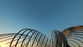 Ponte moderno curvo al ponte moderno curvante realistico dimensionale di tramonto 3 al tramonto immagine stock libera da diritti