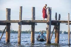 Ponte Myanmar di U Bein immagini stock libere da diritti