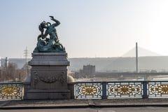Ponte nel giorno di inverno, Belgio di Liegi Fotografia Stock