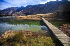 Ponte nel lago Moke, Queenstown, Nuova Zelanda Fotografia Stock Libera da Diritti
