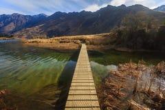 Ponte nel lago Moke, Queenstown, Nuova Zelanda Immagine Stock