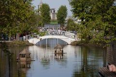 Ponte nel parco sotto il nome di Gorki a Mosca Immagine Stock