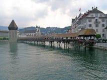 Ponte nella città di Lucerna Fotografie Stock Libere da Diritti