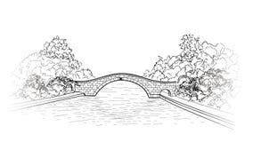 Ponte nella vista del parco lanscape del giardino della città Incisione del natu retro Immagini Stock Libere da Diritti