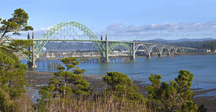 Ponte Newport Oregon della baia di Yaquina Fotografie Stock Libere da Diritti