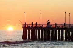 Ponte no por do sol no versilia Foto de Stock