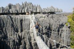 A ponte no Tsingy de Bemaraha imagens de stock