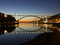 Ponte Oporto Portogallo di notte Immagine Stock Libera da Diritti