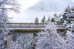 Ponte ou viaduto da estrada em montanhas nevado Fotos de Stock
