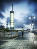 Ponte pedestre de Sumida da cena do amanhecer Imagem de Stock