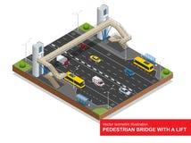 Ponte pedestre isométrica com um elevador sobre a estrada Grupo da ponte pedestre isométrica com um elevador, ônibus, sedan Fotografia de Stock