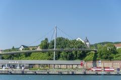 Ponte pedonale al porto in Sassnitz fotografia stock