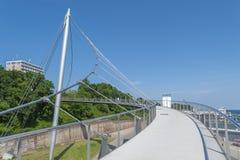 Ponte pedonale al porto in Sassnitz fotografia stock libera da diritti