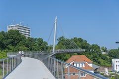 Ponte pedonale al porto in Sassnitz immagini stock libere da diritti