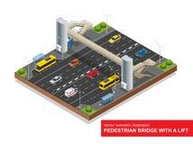Ponte pedonale isometrico con un ascensore sopra la strada principale Insieme del ponte pedonale isometrico con un ascensore, bus Immagini Stock
