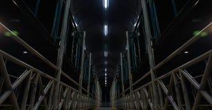 Ponte pedonale scuro alla notte fotografie stock