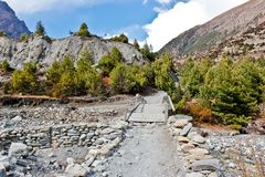 Ponte pequena sobre a água em Nepal foto de stock royalty free