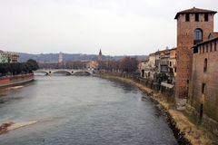 Ponte Pietra and Adige River in Verona Stock Photo